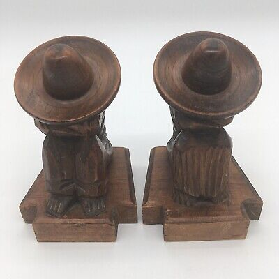 Southwest Hand Carved Wood Figure Man Sombrero Siesta Shelf Sitter Book Ends