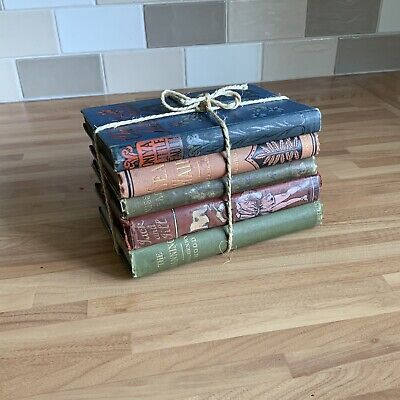 5 X Old Books Antique Vintage  Decorative Hardback Books - Shabby Chic Display
