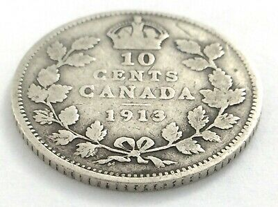 1913 Canada 10 Ten Cent Silver Dime Canadian Circulated George V Coin L537