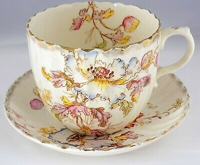 Extra Large Tea Cup and Saucer Antique Victorian Hand Painted and Gilded