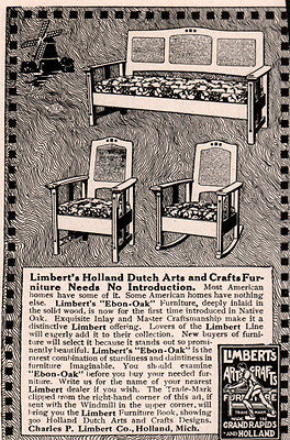 1915 Ad  Limbert Co Grand Rapids Furniture Holland Windmill Dutch Arts Crafts