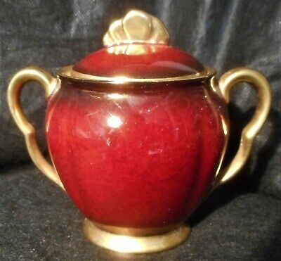 CARLTON WARE ROUGE ROYALE COVERED SUGAR BOWL IN LOVELY CONDITION, c.1950