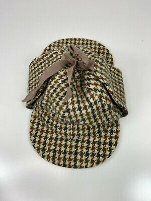 Dunn & Co Great Britain Men's Wool Cap Paperboy Hat Flaps Houndstooth