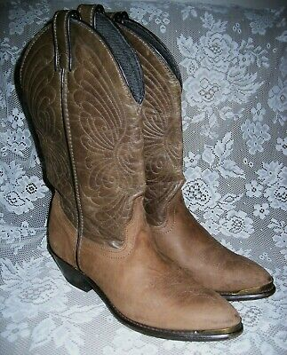Laredo Western Cowboy Mid-Calf Boot Made in USA Metal Toe Tips Women's Size 7.5