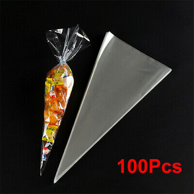 Large Clear Cellophane Sweet Cone Bags 38*19cm Birthday Party Wedding Favours