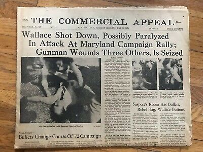 Rare 1972 Newspaper Commercial Appeal George Wallace Paralyzed Complete Paper
