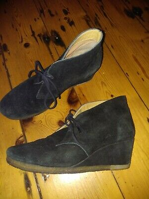Black Suede Wedge Heel Ankle Boots Clarks  Size 5.5