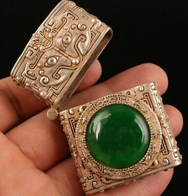 China Tibet Silver Jade Hand-Carved Lighter Box High-End Gift Old Collec
