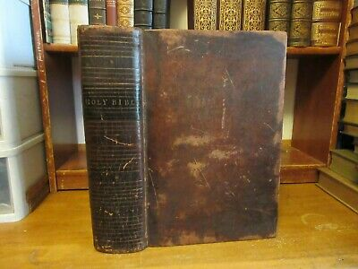 Old HOLY BIBLE Leather Book 1801 ABRAHAM BENSON FAMILY RECORDS ANTIQUE APOCRYPHA