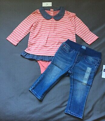 Baby Girl 12-18 Month Baby Gap Pink Striped Double Bodysuit & Pull On Jeggings