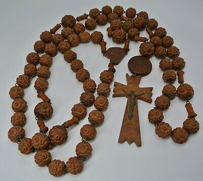 Antique French Rosary Beads Large Carved Wooden Beads Priest Lourdes