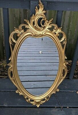Vintage SYROCO Gold Oval Ornate Framed Wall Mirror Hollywood Regency MCMLXV 1965