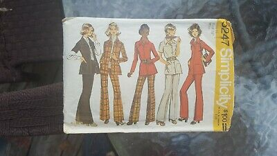 Vintage 1972 Simplicity Sewing Pattern: Shirtjacket And Pants (Sz 16) #5247