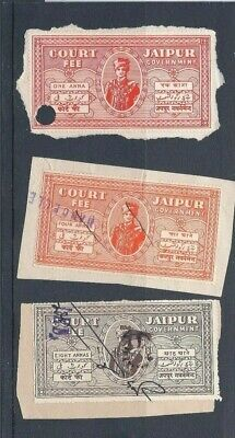 INDIAN STATES - 3 x JAIPUR COURT FEE STAMPS -  1, 4 & 8 ANNA VALUES USED.