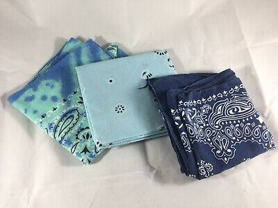 3 Vintage Blue Bandana Handkerchiefs USA Made Hav-A-Hank Wamcraft Fast Color
