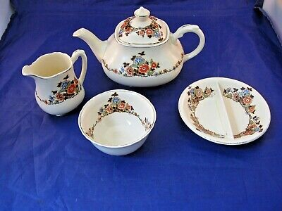 Antique Wedgwood Co, Tea Pot, Cream And Sugar And Small Divided Dish