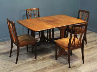 Attractive Vintage Retro G Plan 1960/70's Teak Drop Flap Dining Table & 4 Chairs