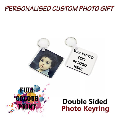 Personalised Photo Keyring Any Picture Custom Keychain Double Side Print love
