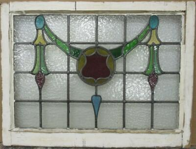 "OLD ENGLISH LEADED STAINED GLASS WINDOW TRANSOM Gorgeous Swag 29.75"" x 22.5"""