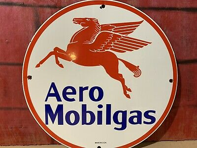 12in MOBILGAS AERO MOBIL AVIATION GASOLINE PORCELAIN SIGN OIL GAS PUMP PLATE