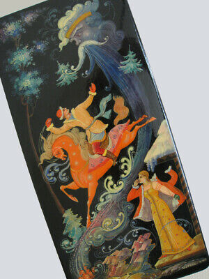 VINTAGE RUSSIAN PALEKH 1970's LACQUER  BOX FAIRY TALE RUSLAN & LUDMILA, SIGNED