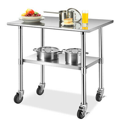 """36"""" x 24"""" NSF Stainless Steel Commercial Kitchen Prep & Work Table on 4 Casters"""