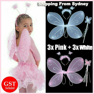 6x Fairy Angel Wings Hairband Wand Set Butterfly Girl Fancy Dress up Halloween A