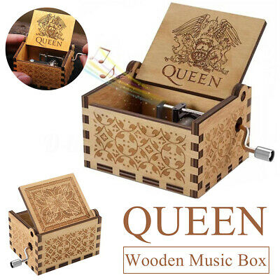 Wooden Music Box Antique Hand Cranked Engraved Queen Kids Christmas Gift Xmas