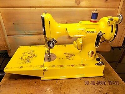 Restored Singer Sewing Machine 221 Featherweight Canary Yellow Custom Paint