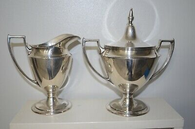 Pairpoint Mfg Co. Silver Plate Cream pitcher Sugar bowl B321  quadruple plate