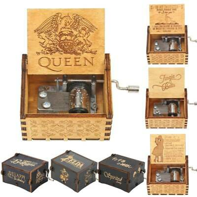 UK Wooden Music Box Mom To Daughter -QUEEN-Engraved Toys Kid Gifts Xmas GIFT