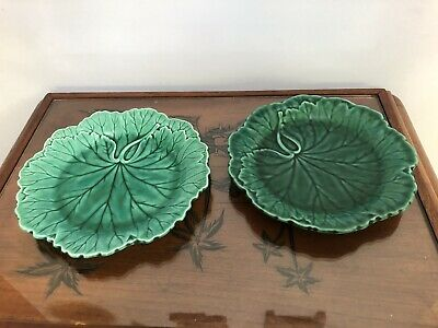 Vintage WEDGWOOD Cabbage Leaf MAJOLICA  Two Plates in Excellent Condition