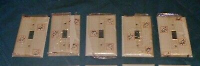 5 Vintage Ivory Sierra D-1 Ribbed Bakelite Toggle Switch Wall Plate Cover NOS