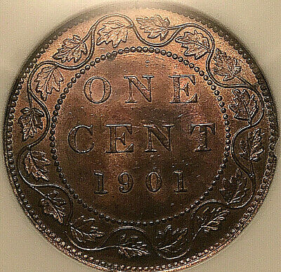 1901 CANADA LARGE CENT PENNY COIN 1 CENT PENNY - ANACS MS-63 Red/brown