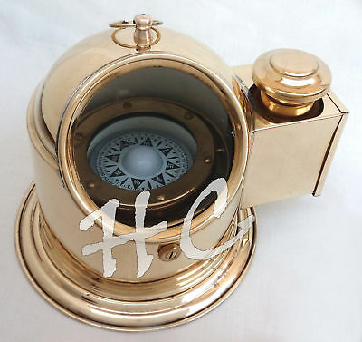 Vintage Brass Nautical Ship/Boat Oil Lamp Floating Dial Binnacle Gimbled Compass