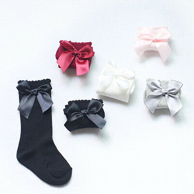 Baby Girls + Girls 3/4Knee High Socks Satin Bow Ribbon Romany Spanish 0-4 Years