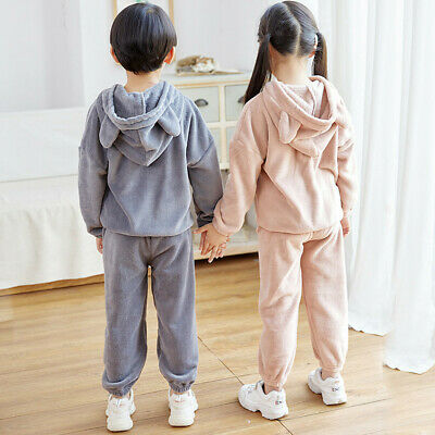 Kid Boys Girl Casual Pants Bottom Thick Fleece Winter Casual Loose Pant Trousers