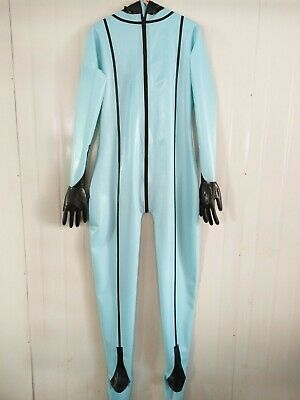 100% Pur Latex Rubber Overall Catsuit Blue Bodysuit Crotch Zipper Cosplay S-XXL