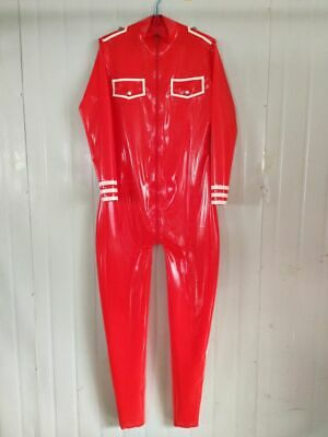 100% Pur Latex Rubber Overall Catsuit Red Bodysuit Crotch Zipper Cosplay S-XXL