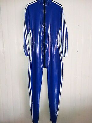 100%Latex Rubber Bodysuit Navy Blue Overall Catsuit Tight Zipper Cosplay S-XXL