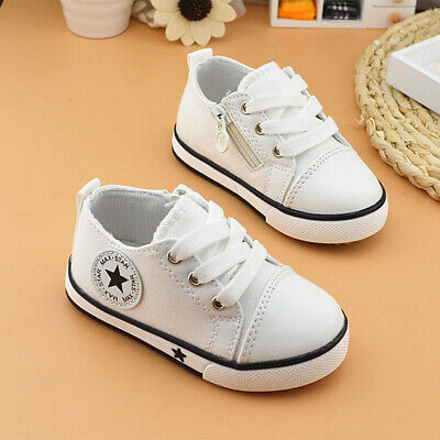 Girls Casual Boys Toddlers Laces Fashion Flats Canvans Kids Shoes White 21