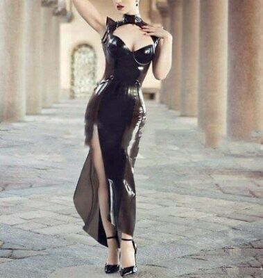 Latex Rubber Sleeveless Black Sexy Long Dress Party Low chest Split dress S-XXL