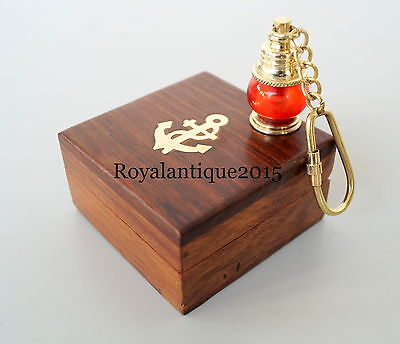 Collectibles Solid Brass Lantern Lamp Nautical Vintage Key Chain With Wooden Box