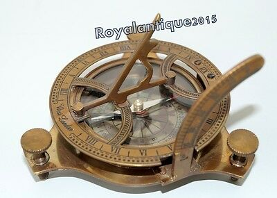 Vintage Maritime Antique Sundial Compass Nautical Collectible Antique Finish ..