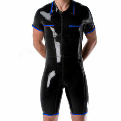 Men 100% Latex Catsuit Rubber Anzug Kostüm Bodysuit Gummi Black& Navy Blue S-XXL