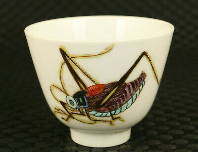 unique old porcelain hand painting insect statue wine tea cup bowl collectible