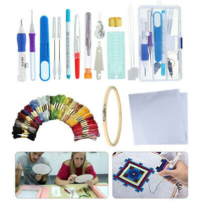 5//50 Magic Embroidery Pen Punch Needle Set Knitting Sewing Tool DIY Crafts UK