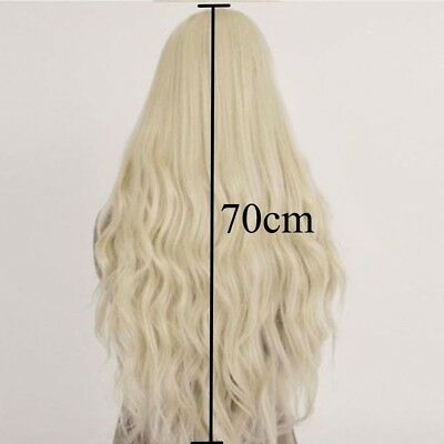 Synthetic Cosplay Long Curly Wavy Women Hair Wig Light Blonde Heat Resistant TY1