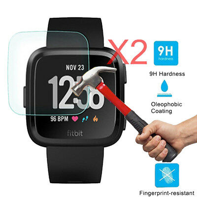 2x Premium Tempered Glass Film Cover Screen Protector For Fitbit Versa Watch  MC
