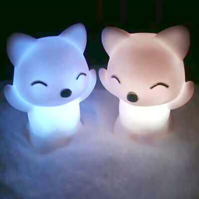 Lovely Foxes Shape LED Night Light Lamp 7 Changing Colors Decorations